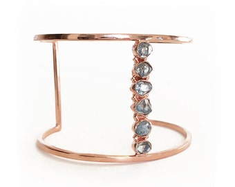 Blue Herkimer Quartz Diamond Cuff - Rose Gold