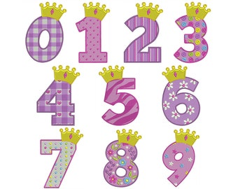 PRINCESS NUMBERS - Machine Embroidery - Instant Digital Download