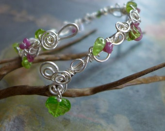 Wire Wrapped Peridot/Pink Tourmaline Bracelet,Adjustable Silver bracelet,August Birthstone Bracelet,Silver Bangle/Cuff Wrap bracelet,