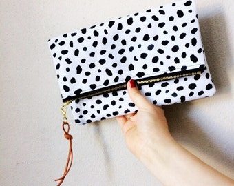 Spotted Canvas Fold Over Clutch / Dalmatian Print Purse / Black and White Clutch / Dotted Bag