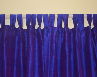 Rich blue with magenta shimmer silk drapes with blackout lining in pure dupioni Silk Fabric DEX 134