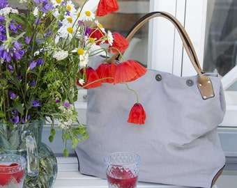 N E W - - Sand and Sea summer TOTE 5 - - LAVENDEL cotton canvas and CAMEL leather