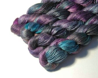 Pure Silk LACE  in A Mysterious Violet  - One of a Kind