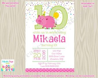 Pig Invitation Party Pig Birthday Invitation Piggy Invitation Piggy Party Pig Birthday Party Girl cute pig DIY- Printable Digital