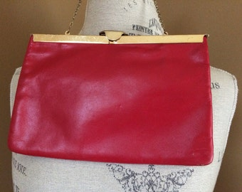 Eton Genuine True Red Leather Two Way Evening Bag Clutch