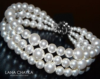 White Pearl Cuff Bracelet Bridal White Pearl Bracelet Swarovski Pearl Bracelet Wedding Three Row Pearl Bracelet Bridal White Pearl Jewelry