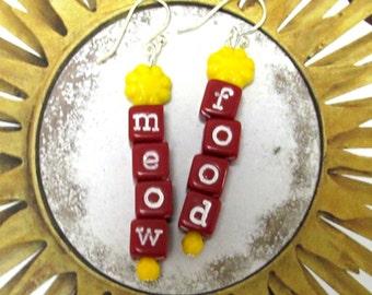 Playful Cat Lovers Earrings. Meow Food. Red Cube Letters. Yellow Flower. Fun Cat Earrings.