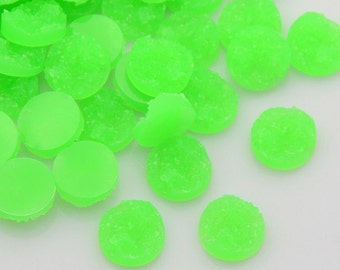 Druzy Resin Cabochons, Flat Round, Neon Green Color.