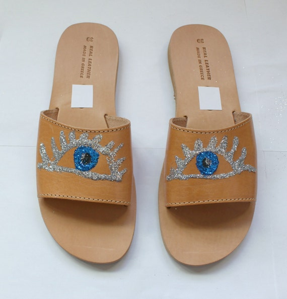 FREE SHIPPING! Glitter Sandals/Leather Sandals/Evil eye sandals size 38-US 7-7.5