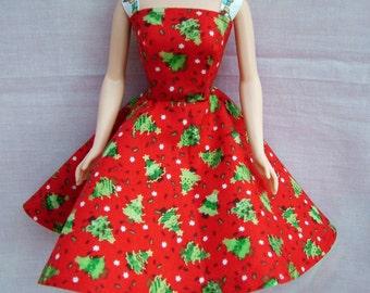 """Handmade 11.5"""" Fashion Doll Clothes. Red Christmas tree print dress"""