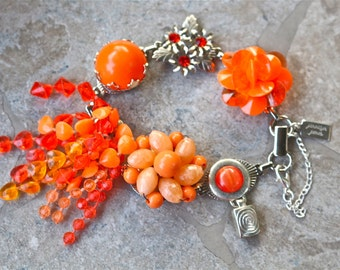 Bridesmaid Gift, Vintage Earring Bracelet, Wedding Bracelet, Cluster, Silver, Orange, Flower, Jennifer Jones, Under 40, OOAK - Tangerine