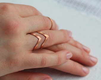 Geometric Mountain Ring ... Vintage Midi Stacking Ring Copper Rose Gold Adjustable Triangle