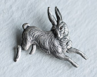 Rabbit Brooch ... Silver Hare Brooch