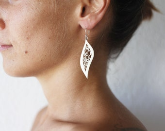 Silver Leaf Earrings, Filigree Earrings, Silver Filigree,Silver Dangle