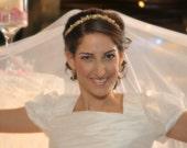 Gold bridal crown, gold bridal headpiece, bridal pearl headband, ivory pearl headband, wedding tiara, bridal pearl tiara, gold hair piece