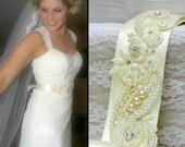 Pearl bridal belt, wedding dress sash, wedding sash, lace wedding sash, beaded bridal sash,wedding dress belt,pearl sash,bridal sash belt