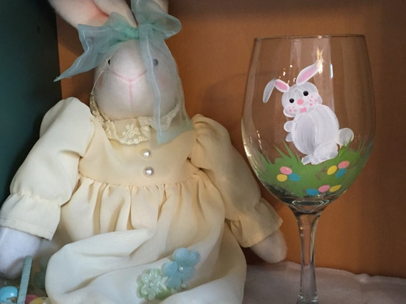 Hand painted wine glass bunny wine glass easter gift for like this item negle Image collections