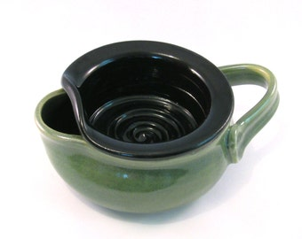 Shaving Scuttle - Shave Mug - Lather Bowl - Comfort Hot Shave - Handmade Pottery - Pottersong - Black - Bright Green - Gift for Him