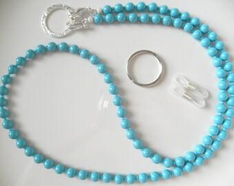 Blue Turquoise Swarovski Pearl Convertible Eyeglass Lanyard Chain Necklace - Glasses Chain, Pearl Lanyard, ID Badge Lanyard, Summer Lanyard