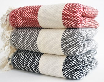SALE 30 OFF/ Select a Color / Blanket / Double Size / Bedcover, Beach blanket, Sofa throw, Traditional, Tablecloth, Twin blankets