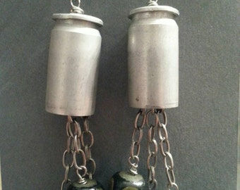 Bullet Dangle Earrings with Wood and Resistors - Upcycled Electronics Jewelry