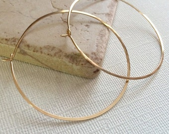 Large Gold Hoop Earrings, Simple Hammered Hoops, 2 inch Gold Hoop