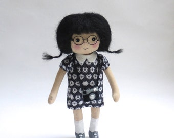 cloth doll with camera and glasses, art doll in black, photographer geek doll
