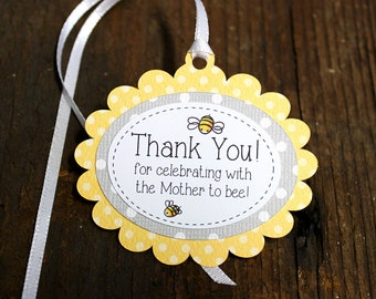 Bumble Bee themed Baby shower Tag, Personalized Gift Tags or Shower Favor Tags, Custom Labels, Custom Gift Card