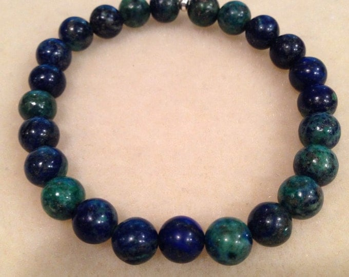 Chrysocolla 8mm Round Bead Bracelet with Sterling Silver Accent