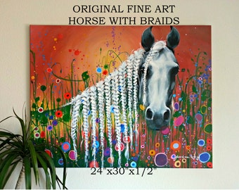 """LARGE WHITE HORSE with Braids and Flowers 24""""x30""""x1/2"""" Acrylic on Stretched Canvas Colorful Fine Art Original Painting for Sale Abstract Red"""
