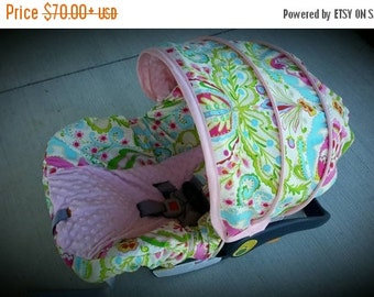 Summer SALE Baby Girl Infant car seat cover-beautiful pinks blues and greens with pink minky -  Always comes with FREE strap Covers