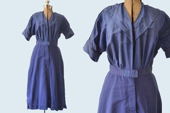 Edwardian Blue Wool Swimsuit Dress