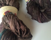Sari silk ribbon. Lincoln. 50g, earthy rustic hues. Art yarn. Unique ethical craft ribbon for jewelry making and arts and crafts.