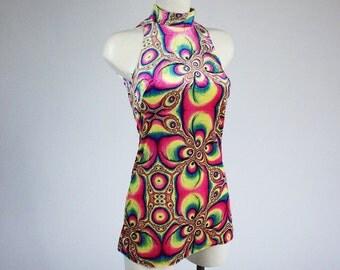 90's Psychedelic Neon Fractal Print Velvet Mini Shift Dress