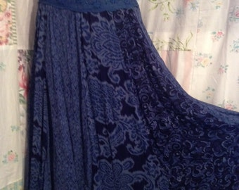 SMALL/MED, Bohemian Romantic Royal Blue Lace and Beads Skirt