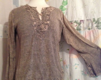 SMALL,  Top Boho Hippie Embroidered Beaded Colorwashed Beige Brown Blouse Top