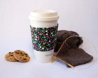 Tulips and Teal Reversible & Reusable Coffee Cup Sleeve, Coffee Cozy, Cup Cozy, Tea Cozy (Standard Size)