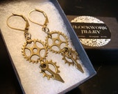 Antique Bronze Gear and Cog Steampunk Earrings (2338)