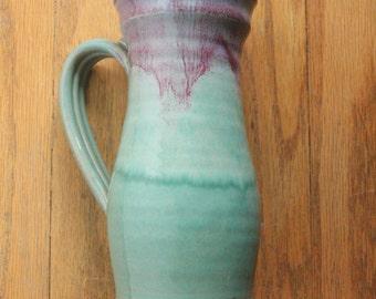 Vintage 80's Handmade Seafoam Green and Purple Glazed Ceramic Vase signed SA