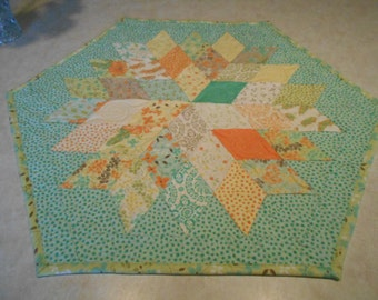Charm Star Spring Quilted Hexagon Patchwork Table Topper - Large Size