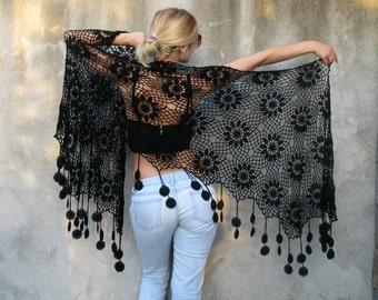 Women Accessories Black cotton boucle  ... Crochet shawl