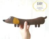 40% OFF: Weiner Dog Pattern, Stuffed Dachshund Felt Soft Toy, Instant Download PDF, Sausage Dog Sewing Pattern
