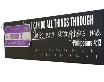Running, Gifts for runners Running medal holder, race bib hanger, 5K, 10K, Half and full marathon, I can do all things… Philippians 4:13,