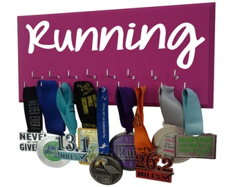 Running Graphic - running medal holder - Hanger for runners medals - Women running