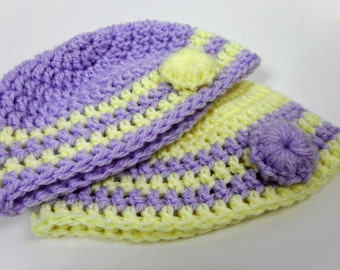 Crochet Baby Beanie Bundle 0-3 Months - Lavender and Yellow