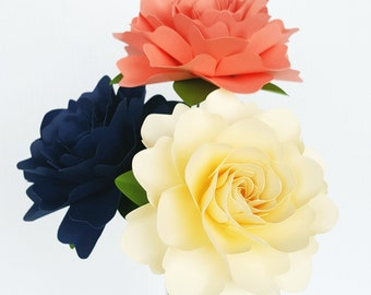 Paper Flowers - Wedding Decorations - Home Decor - X-Large Flowers - Set of 3 - Coral - Navy - Ivory - MADE TO ORDER
