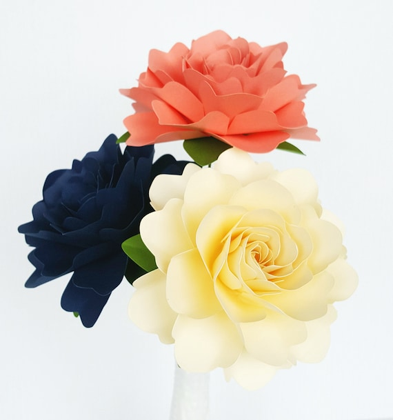 Paper Flowers - Wedding Decorations - Home Decor - X-Large Flowers - Set of 12 - Coral - Navy - Ivory - MADE TO ORDER