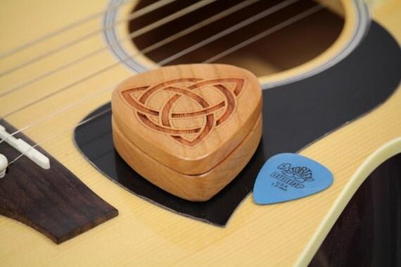 "Celtic Guitar Pick Box, 2-1/4"" x 2"" x 3/4""D, Celtic Trinity Knot Design, Pattern G6 Slender, Solid Cherrywood, Laser Engraved, Paul Szewc"