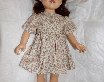 Pink floral print modest dress with buttons for 18 inch dolls - ag322