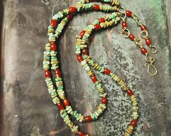 Turquoise Red Agate Boho Bib Necklace with Brass Chain bohemian necklace boho chic turquoise necklace art jewelry - Summer Love